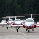 The Snowbirds arriving at the Quesnel Airport — first time EVER!