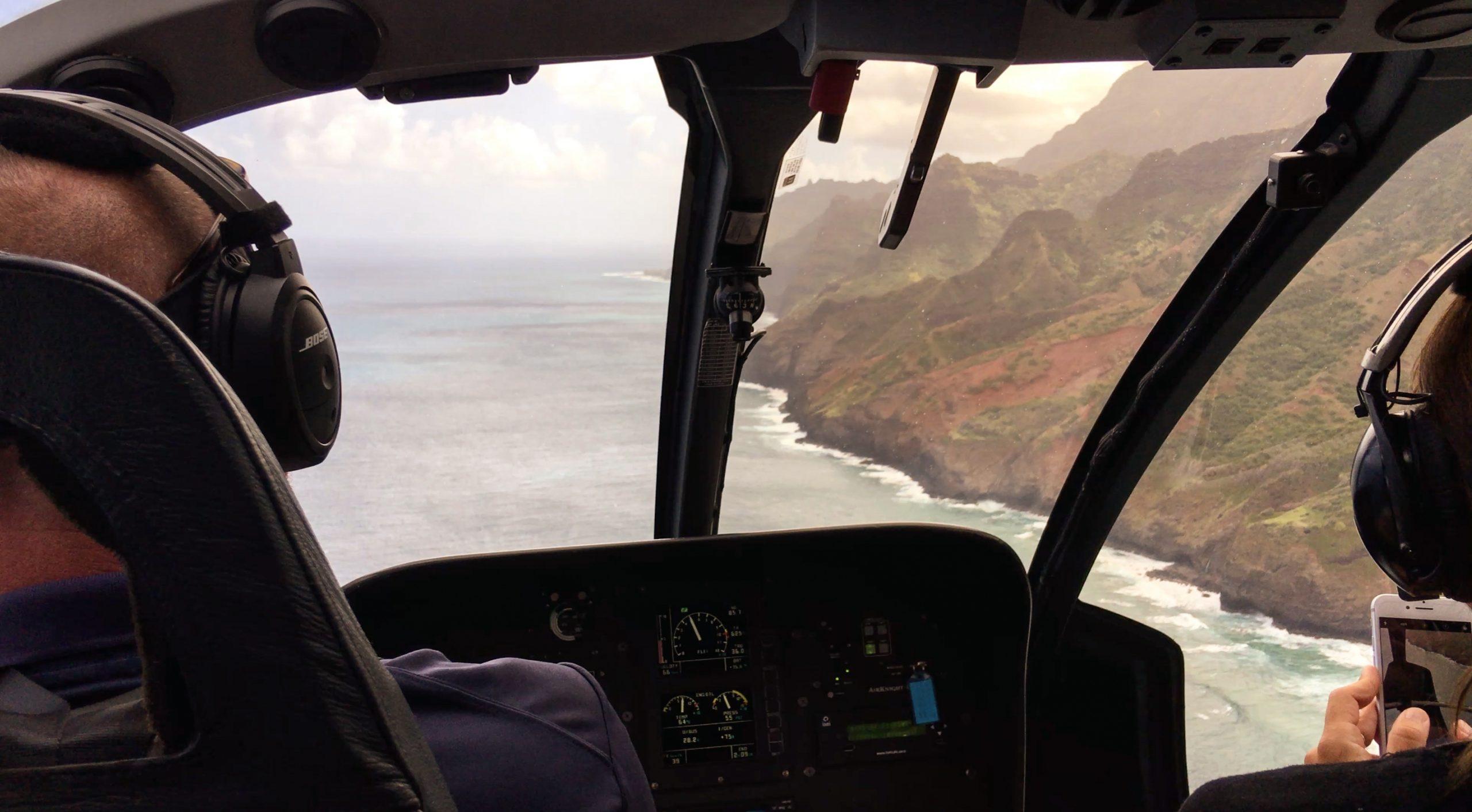 View of Hanalei Bay from Blue Hawaiian helicopter tour, Kauai Hawaii
