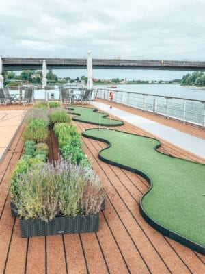 Fresh herbs and putting green on the top deck of the Viking Hild, Viking Cruises, Paris to Zurich River Cruise