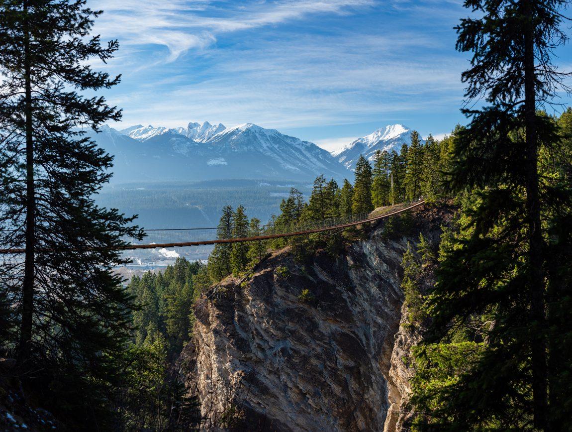 Golden Skybridge, Golden British Columbia Canada. Highest suspension bridges in Canada.