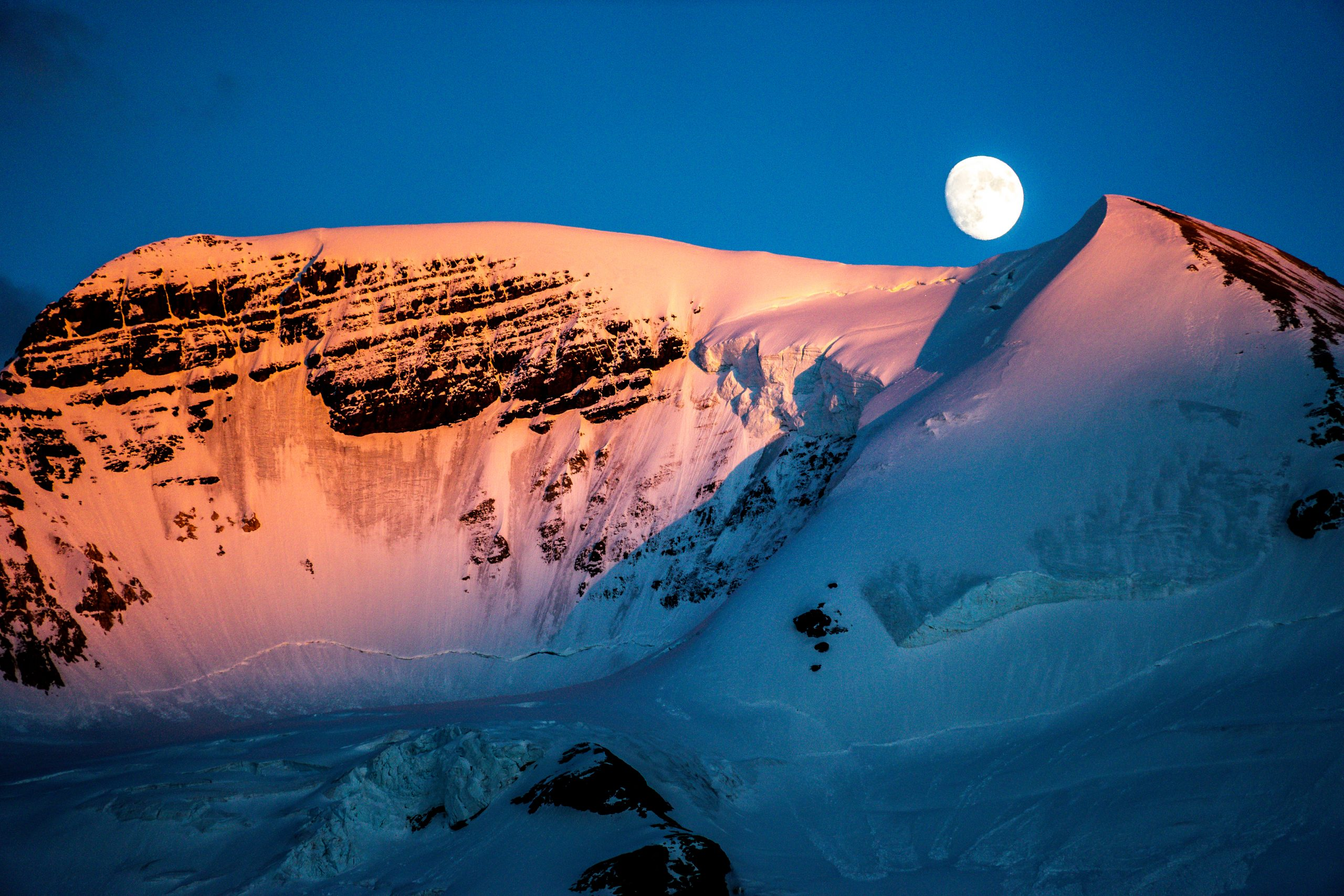 Moon over the Columbia Icefield, Athabasca Glacier, Jasper National Park, Alberta